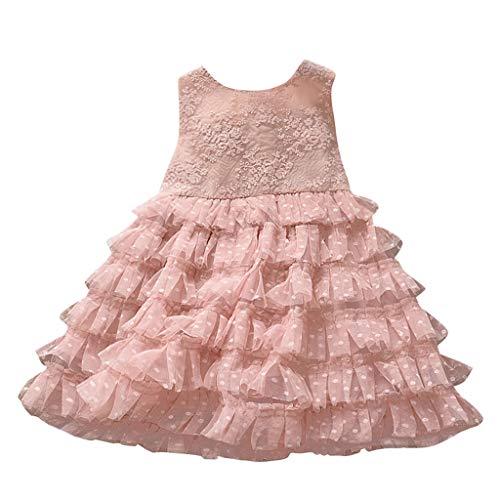 DQANIU Kinderprinzessin Kleid, geeignet für 2-7Y Kinder, Baby Kinder Mädchen solide gerüschte Rüschen Tüll Polka Bedruckt Kuchen Kleid ärmellose O-Ausschnitt Prinzessin Kleider Partykleid