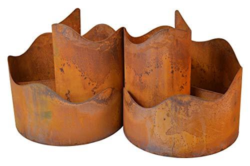 Dio 2er Toscana Kräuterspirale Kräuterschnecke Kräuterbeet Kräuterturm groß BxHxL ca.60x30x30cm Edelrost Metall Pflanzspirale Gartendekoration Spirale Blumenpyramide