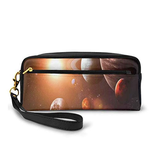 Pencil Case Pen Bag Pouch Stationary,Space Theme View of The Planets from Earth Science Room Art with Sun and Moon,Small Makeup Bag Coin Purse