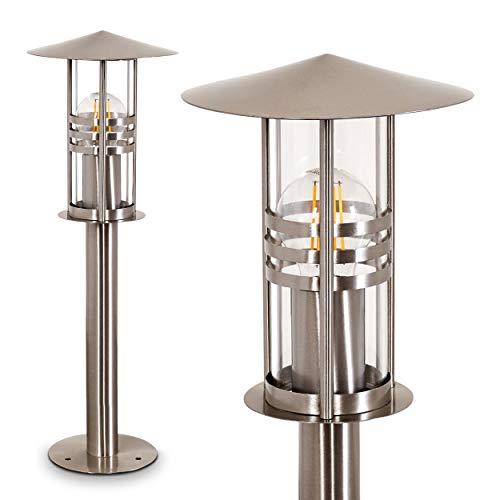 Außenleuchte Forli, moderne Sockelleuchte aus gebürstetem Edelstahl und Glas, Wegeleuchte 50 cm, Gartenlampe mit E27-Fassung, max. 60 Watt, Gartenbeleuchtung IP44, geeignet für LED Leuchtmittel