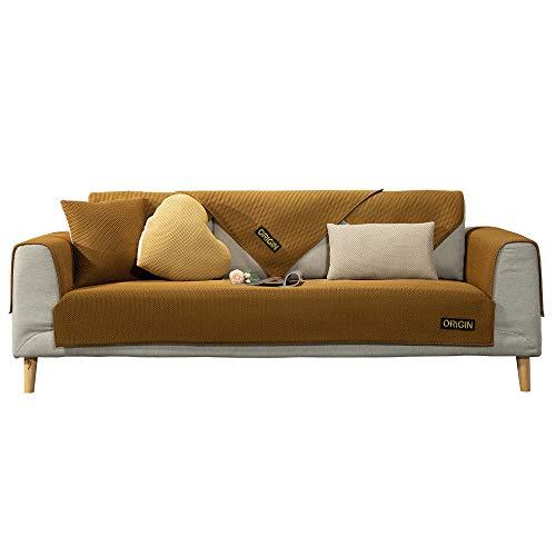 YUTJK Cubierta de sofá de Estera de Verano Transpirable,Composable Antideslizante Resistente Anti-Suciedad Sofá Cubierta,Funda Protector De Los Muebles,marrón_70×210cm