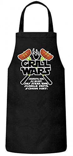 ShirtStreet Grillen Grill Garten Party Frauen Herren Barbecue Baumwoll Grillschürze Kochschürze Grill Wars - Das Steak eine dunkle Seite Schon hat, Größe: OneSize,Schwarz