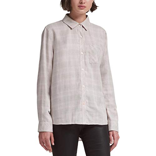DKNY Womens Plaid Long Sleeves Button-Down Top Pink L