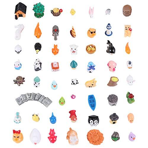 YARNOW 100 Piezas Mini Animales Kit de Adorno en Miniatura Playa Océano Miniatura Animal Figura para Jardín de Hadas Casa de Muñecas Bonsai Micro Paisaje Accesorios Color 1
