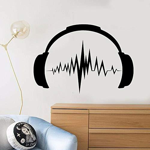Wandaufkleber Kopfhörer Sound Musik Zimmer Sänger Musiker Teenager Zimmer Vinyl Heimdekoration Tapete abnehmbar Aufkleber 58 x 60 cm