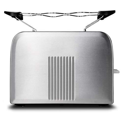 MEDION MD 16232 Edelstahl-Toaster (870 Watt, Aufwärm-, Auftau- und Stopptaste, Bräunungsgrad-Regler, Edelstahlgehäuse) silber