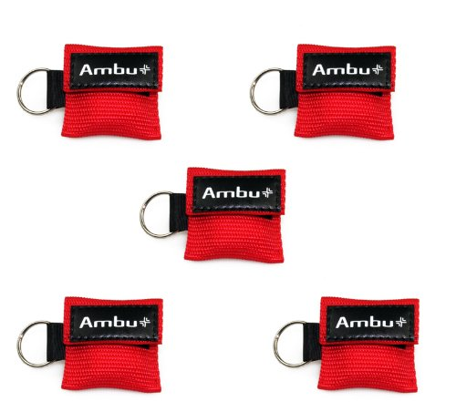 5x AMBU LifeKey Schlüsselanhänger Beatmungsmaske in rot