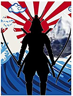 InterestPrint Cool Silhouette Japan Samurai with Japanese Wave Rising Sun Flag Poster Wall Print Modern Home Decor for College Dorm Gym Classroom Home Office Dorm, Unframed 18x24 Inch