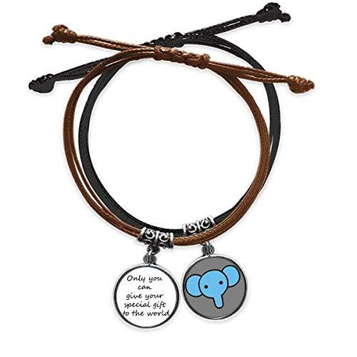 Pulsera inspiradora con cuerda para la mano con diseño de elefantes y texto en inglés 'You Can Give World'