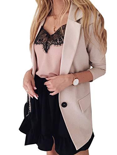 Minetom Donna Estate Autunno Manica Lunga Colletto Cappotto Elegante Ufficio Business Blazer Top Gilet Corto OL Carriera Tailleur Giacca A Beige 38