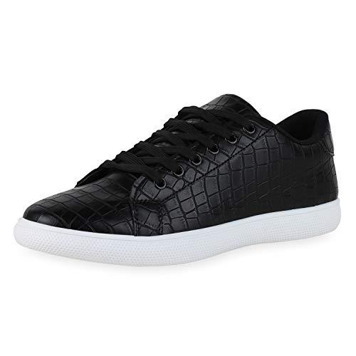 SCARPE VITA Herren Sneaker Low Turnschuhe Schnürer Freizeitschuhe Flats Kroko Leder-Optik Schuhe Bequeme Schnürschuhe 190733 Schwarz Kroko 40