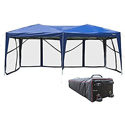 VINGLI 10' x 20' Pop Up Canopy Tent Mesh Sidewalls, Anti-Mosquito Screen Houses,Instant Setup Gazebos, 6 Translucent Sides Doors Sturdier Frame Anti-UV, Heavy Duty Wheeled Carrying Bag,Blue
