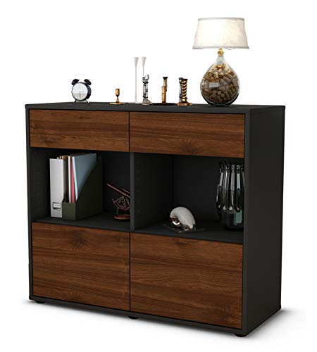 Stil.Zeit Sideboard Christina/Korpus anthrazit matt/Front Holz-Design Walnuss (92x79x35cm) Push-to-Open Technik & Leichtlaufschienen