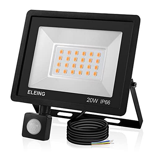ELEING Fari LED da Esterno con PIR Sensore Movimiento, 20W 1600LM Bianco Freddo 6500K Super Luminoso IP66 Impermeabile Faretti per Cortile, Strada, Parcheggio, Magazzino