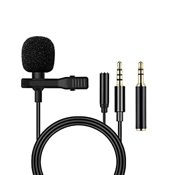 Lavalier Lapel Microphone with Earphone Jack - Mini Condenser Clip-on Lapel Mic for Recording YouTube/Tiktok/Interview/Podcast/Vlog/,Live Streaming Video Recording,Webcast,Online Teaching