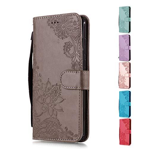 Funda Libro para Samsung Galaxy S6 Edge Carcasa de Cuero PU Premium Encaje de Flores de Mandala Flip Wallet Case Cover con Tapa Teléfono Piel Tarjetero - Gris
