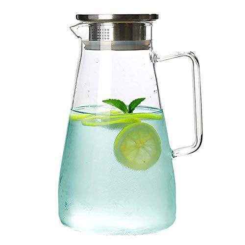 QUYUAN Jarras de Cristal, Jarra de Vidrio, Jarras para Agua con Tapa de Acero Inoxidable Botella de Cristal para Agua Caliente Fría Té Jugo Leche Café Vino