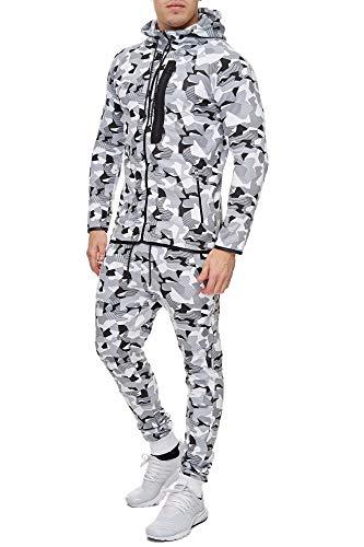 Code47 Camouflage Army Jogginganzug Jogging Hose Jacke Sportanzug Herren Weiß XL