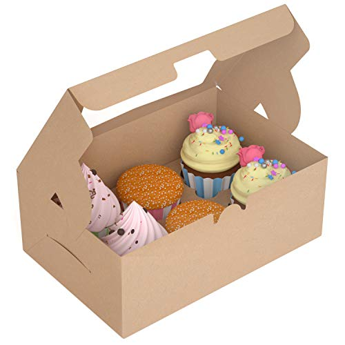 X-Chef Cupcake Boxes 6 Count Food Grade Kraft Bakery Pastry Boxes with Display Windows and Inserts to Fit 6 Muffins or Pastries 15 Packs 10 3 X 6 9 X 3 9Each