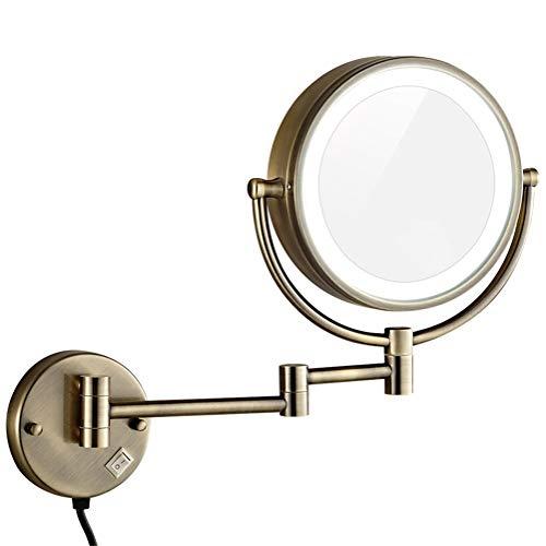"""Kosmetikspiegel zur Wandmontage, 8,5"""", doppelseitig, Messing, dimmbare Vergrößerung, Make-up, Rasieren, LED-Licht, verlängerter Steckdraht,Bronze,7X"""