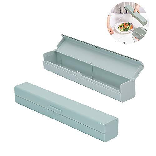 Cortador Para Film-Aluminio, Dispensador cortador de film de cocina de,Dispensador de Envoltura de Alimentos Plástico, Aluminio Pantalla Film Accesorio de Cocina Caja, Para Cocina (azul)