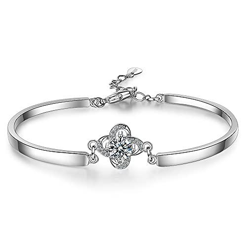 JDKALPulsera de Plata esterlina 925, Cadena de Cristal de trébol de la Suerte vinculada para Mujer, Brazalete con Encanto, Regalo de joyería