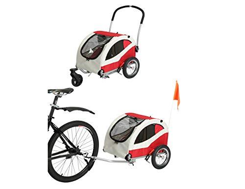 Fiximaster Leonpets Pet Carry de 2 en 1 pequeño perro de mascotas remolque de bicicleta y cochecito con freno 10404 rojo/gris