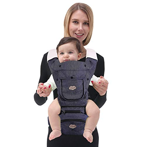 ISEE Ergonomic Baby Carrier with Hip seat, Baby Hip Carriers with Lumbar Support Child 7-33 lbs, Safety Comfort Newborn Infant Toddler 0-36 Months