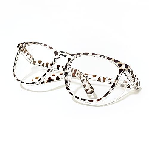 LeonDesigns Stylish Safety Goggles Anti-Fog Blue Light Blocking Glasses (Square Leopard-C2)