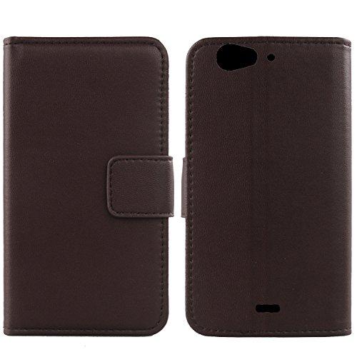 Gukas Design Echt Leder Tasche Für Wiko Darkfull Hülle Handy Flip Brieftasche mit Kartenfächer Schutz Protektiv Genuine Premium Hülle Cover Etui Skin Shell (Dark Braun)