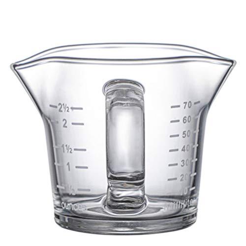 Hemoton Taza Medidora de Vidrio Taza para Marcar Escala Taza de Boca Doble en Forma de V Taza Medidora para Microondas Tamaño S 2. 36 Pulgadas