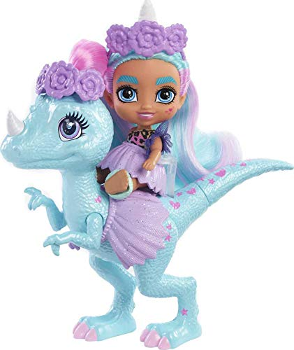 Cave Club Bebé con dinosaurio, muñeca pelo azul con mascota y accesorios,...