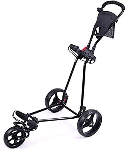 TUHFG Carrito de golf Carrito de golf Capacidad de carga 50 kg, Carrito de empuje de golf de 3 ruedas, Carrito de golf ligero plegable portátil, Carta de golf de marco de aleación de aluminio