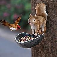 Hand-Mart Bird Feeder, Unique Design Squirrel Standing on Shovel, Tree Decor Outdoor, Hanging Garden Statues, Wild Seed Birdfeeder Tree Hugger Sculpture, Whimsical Garden Decorations, Resin/Metal.