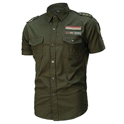 Xmiral Camicia a Maniche Corte da Uomo Casual Vari Colori Militare Allentata Magliette Larghe (L,7- Army Green)