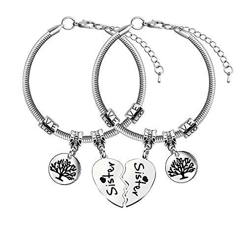 2 pulseras con colgante de árbol de la vida para hermanas y hermanas, diseño de corazón roto