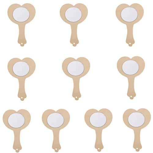 Dolity Handspiegel Spiegel aus Holz für Kinder zum Bemalen und Basteln Mottoparty Geburtstag Diy Spiegel Set - herzform, 10 stück