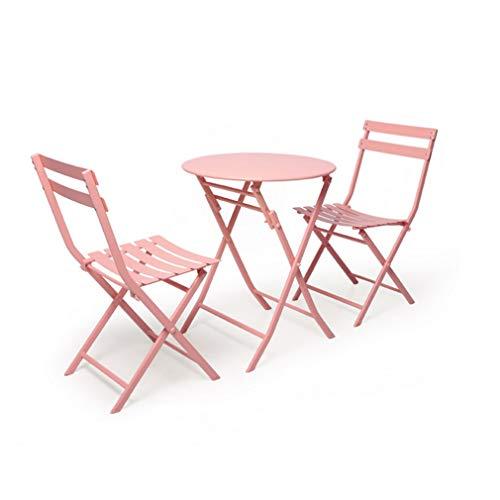 RENJUN Juego de mesas y 2 sillas plegables de jardín y sillas de metal al aire libre terraza Bistro sillas de reuniones (color: rosa)