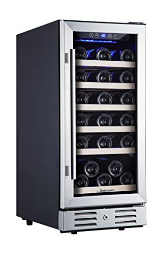 Kalamera 15 Inch Wine Cooler Refrigerator 30 Bottle with Stainless Steel & Double-Layer Tempered Glass Door and…