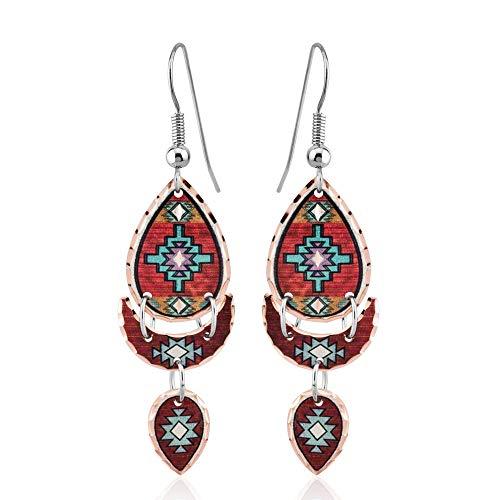 Pendientes de gota inspirados en los nativos americanos del sudoeste. Patrón tribal/azteca/geométrico/Art Deco pendientes con tres Tussles. Joyería de cobre hecha a mano