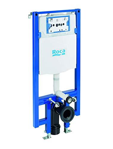 Roca A890073020 Bastidor Cisterna Empotrable Doble Descarga Duplo WC One Compact, Azul Y Blanco