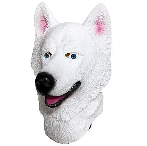 HANJIAJKL Halloween Tier Schneeleopard Latex Maske, White Husky Dog Head - Kopfbedeckung Maske, Spiel Funny Party Mask,Masken/Partyhüte, Partymasken & Zubehör