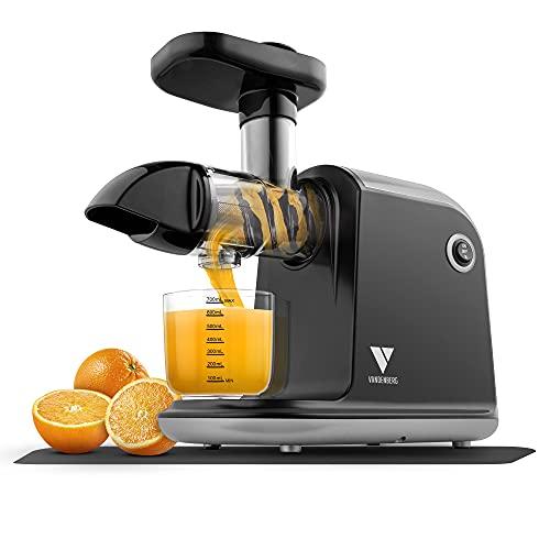 Vandenberg Slow Juicer - Leiser Entsafter für alle Gemüse und Obst Sorten - [150 W] Vitaminschonende Saftpresse elektrisch mit Umkehr Funktion Inkl. Reinigungsbürste - BPA Frei