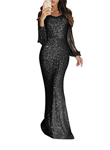 Minetom Femme Paillettes Robe Elégante Manches Longues à Gland Robe Soirée Mariage Cocktail Col Rond Bodycon Maxi Dress A Noir FR 40