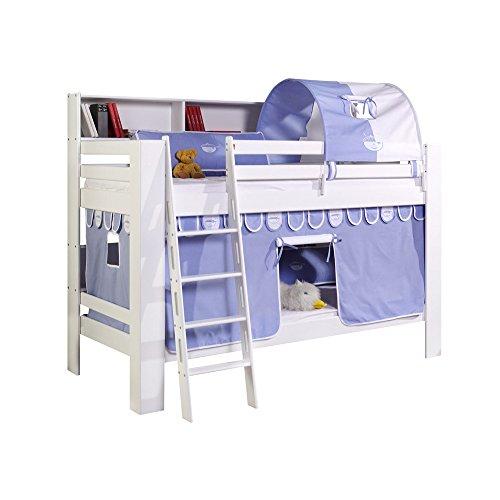 Relita Etagenbett Jan mit Bücherregal, Vorhang und Tunnel Buche massiv, weiß lackiert, Stoff hellblau/weiß