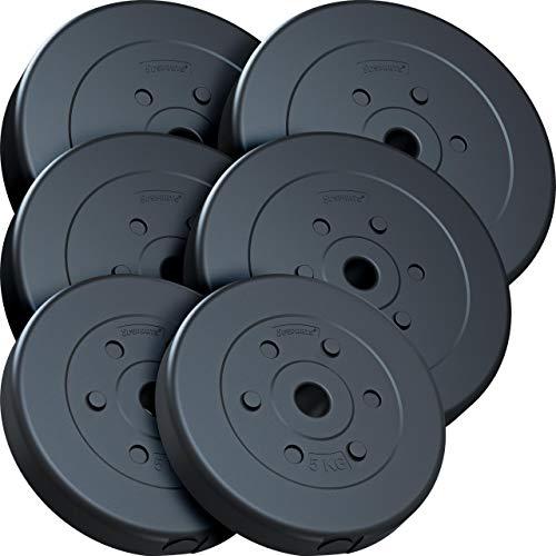 ScSPORTS® 45 kg Hantelscheiben-Set, Kunststoff, 2 x 10 kg, 2 x 7,5 kg, 2 x 5 kg, Gewichte, 30/31 mm Bohrung, durch Intertek geprüft + bestanden (1)