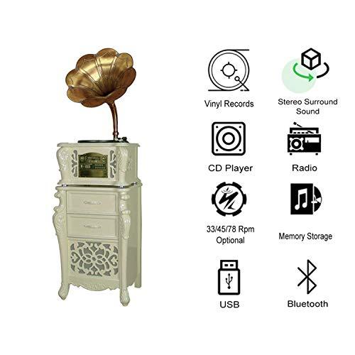 GOM platenspeler met luidsprekerradio, 3-speed turntables, ingebouwde stereo hifi-audio, RCA-uitgang, ondersteuning Bluetooth-verbinding, CD-speler, USB-aansluiting