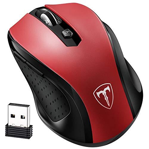 VicTsing. Mouse Portatile 2.4 G Wireless con Ricevitore Nano, 5 dpi Regolabili, Rosso