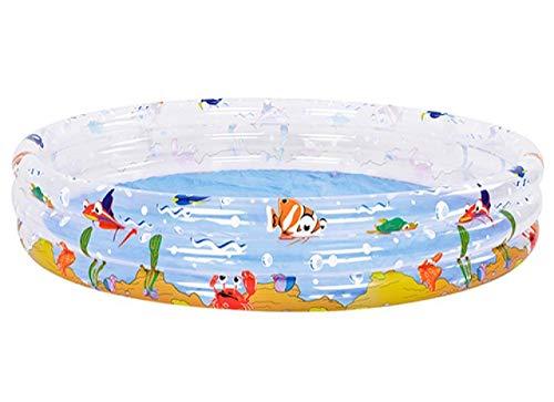 HomestreetUK 150 cm rundes Planschbecken, helle Farbe, Unterwasser-Ozean, Tier-Thema, transparent, 3-Ring-Pool, groß, ca. 150 cm, aufblasbarer Familienpool, Planschen, Spritzen, Kühlen