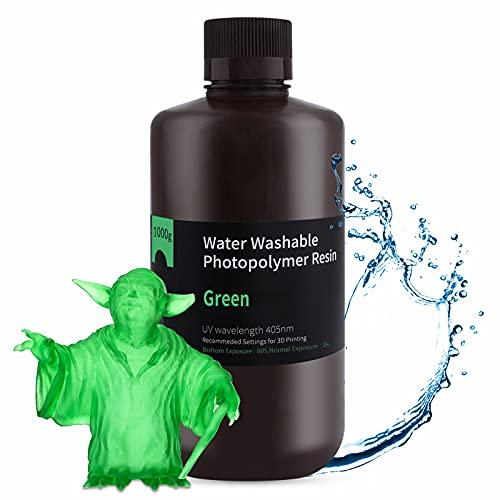 ELEGOO Lavable con Agua Impresora 3D Resina,Resina de Fotopolímero Estándar de Curado UV de 405 nm para Impresora LCD 3D Verde claro 1000g